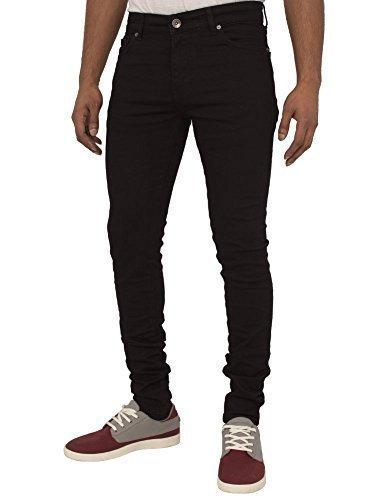 Ze ENZO Enzo Hommes Super Skinny Slim fit Jeans Extensible rétro Pantalon  Jeans - Noir, 5c1b4f810347