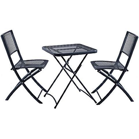 DOMI - Set de 3 piezas mesa y silla plegable para jardín, mesa plegable cuadrada de malla de acero y 2 sillas plegables de uso al aire libre y de interior