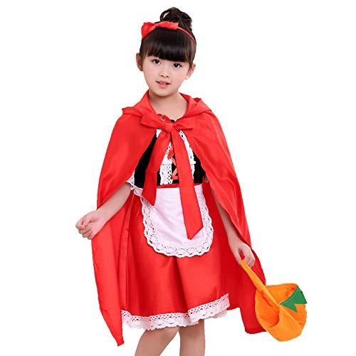 Für Märchen Hunde Prinzessin Kostüm - GJKK Halloween Kostüm Kinder Mädchen Aschenputtel Kleid Partykleid Kurzarm + Rot Umhang Mantel Halloween Outfits Set Halloween Cosplay Märchen-Kostüm