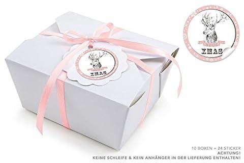 """10 WEIßE BOXEN + 24 STICKER HIRSCHMOTIV ROSA (Take Away Boxen / Kraftkarton / Pappe / Speiseboxen / Deko Geschenkboxen / Kartonschachteln / Faltdeckel / mit Innenbeschichtung / 600ml rechteckig) • Ein absolutes universal """"Tausendsassa"""" für Weihnachtsgebäck, Kekse, Cupcakes, Kuchen, Gebäck, Gastgeschenk, Mitbringsel • Aufkleber: 4cm, matt rund"""