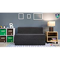 Uberlyfe Sofa Cum Bed - Perfect for Guests - Jute Fabric Washable Cover - Dark Grey| 4' X 6' Feet(SCB-001732-BK_B)