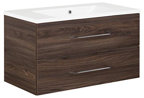 FACKELMANN Waschtischunterschrank inkl. Gussbecken B.CLEVER/Soft-Close-System/Maße (B x H x T): ca. 90 x 48,5 x 46 cm/Möbel fürs WC oder Badezimmer/Schrank: Braun dunkel/Becken: Weiß