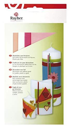 Rayher 31449000 Verzierwachs, Rosa-Töne, Set 4 Verzierwachsplatten, je 20 x 6,5 cm, Wachs zum Kerzen verzieren, Kerzenwachs, Wachsfolie