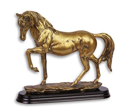 Deko Pferd Skulptur Figur auf Sockel 20,8 cm gold detailgetreu