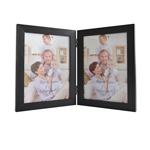 Giftgarden Marcos Doble de Fotos de Madera Negro Vertical 13x18cm