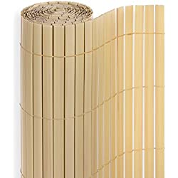 Homelux PVC Sichtschutz für Balkon Terrasse und Garten Sichtschutzmatte Sichtschutzzaun Windschutz, Farbe: Bambus, 140 x 400 cm