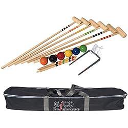 3246 - Jeu de croquet de qualité - 6 joueurs - Maillets taille adulte 100 cm - En sac de transport