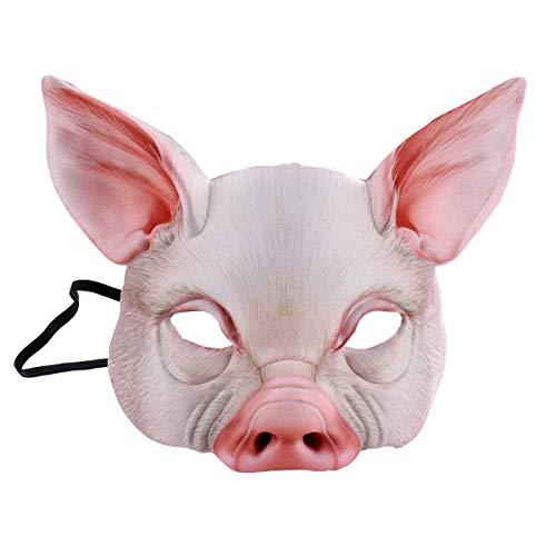 NUOBESTY Half Face Tiermaske Spaß Schwein Maske für Party Festival Halloween Maskerade Phantasie Ball Cosplay (Pink)