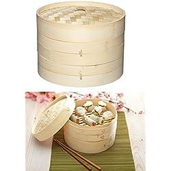 Takestop® Recipiente para cocción Vapor Oriental 20cm (Bamboo Bambu trenzado 2capas y tapa cesta Vaporera