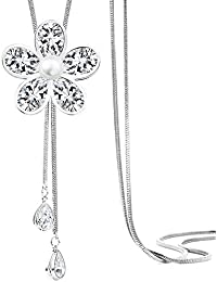 REGALIE Classique Collection Flower Pattern Jewellery Pendant Long Chain With Pearl Western Wear Stylish Adjustable...