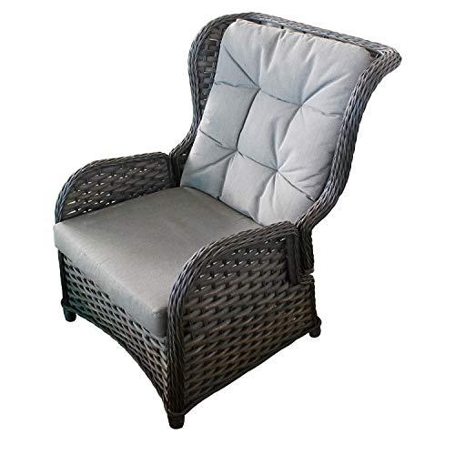 Mojawo Luxus Comfort Relaxsessel Flachrattan Ohrensessel Polyrattan, inkl. Polster verstellbare Rückenlehne Gartensessel Rattansessel