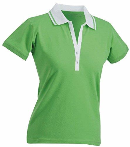 Damen Stretch Piqué Polo (James & Nicholson Damen Damen Stretch Piqué Polo JN158 Lime Green/White M)