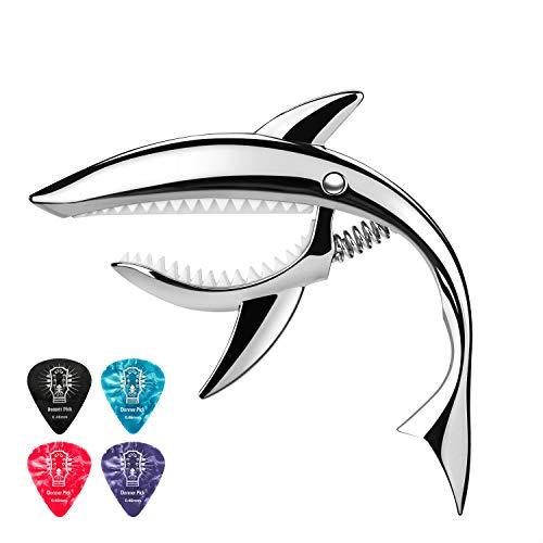 Donner Kapodaster Gitarre Shark Capo Zinklegierung für Gitarre, Ukulele, Banjo, Mandoline, Bass, Silber