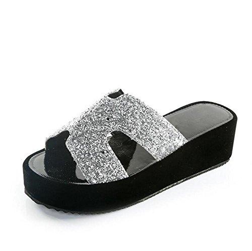 LDMB Damen Casual Peep Toe Sequins Wedge Sandalen Muffins Thick Bottom Hausschuhe Silver