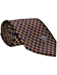 Versace Men's Small Square Pattern Woven Silk Necktie Blue Gold