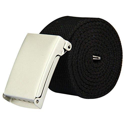 Damen Gurtband Gürtel (Nylon Gurtband Gürtel Militär Armee Stil verstellbar mit Silber Schnalle - 38mm breit von Wedding Decor - Schwarz, Size for All)