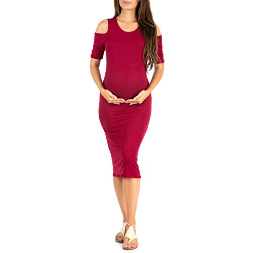 Mother Bee Maternity Damen Kalte Schulter Bodycon-Kleid in Regular und Übergrößen – Made in USA – Violett – Klein