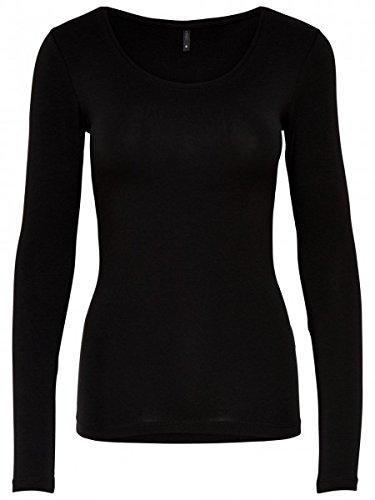ONLY Damen Langarmshirt 15060054/Live Love Long O-Neck LS Top RPT, Größe:M;Farbe:Black