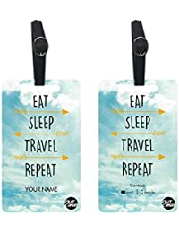 Personalized Metal Luggage Travel Baggage Tags From Nutcase - SET OF 2 TAGS - Eat Sleep Travel Repeat - Sky