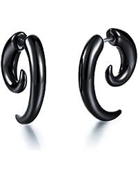 bigsoho Black Acrylic Eearring Fashion Cool Tusk Shaped Mens/Womens Stud Earrings