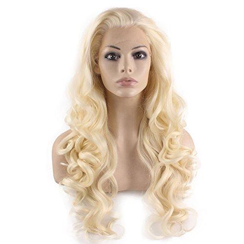 elebrity Hälfte Hand auf Synthetische Lace Front Licht blond natürlich Perücke (Billige Blaue Halloween Perücken)