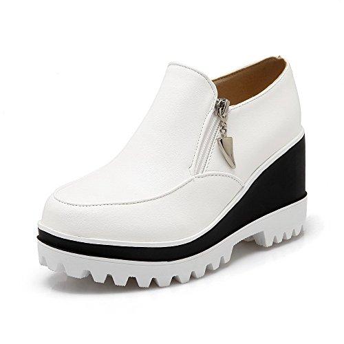 VogueZone009 Femme Couleur Unie Pu Cuir à Talon Correct Rond Fermeture D'Orteil Zip Chaussures Légeres Blanc