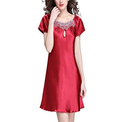 Ahatech Donna Sexy camicia da notte Pigiama Di Seta Biancheria Lingerie Babydoll Intimo notte da donna