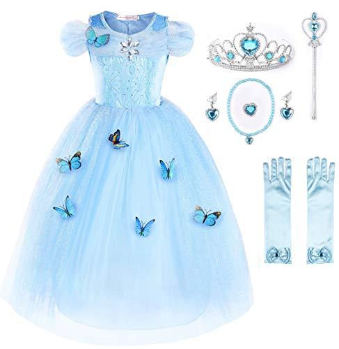 JerrisApparel Aschenputtel Kleid Prinzessin Kostüm Schmetterling Mädchen (120, Himmel Blau mit (Kostüm Mit Einem Blauen Kleid)