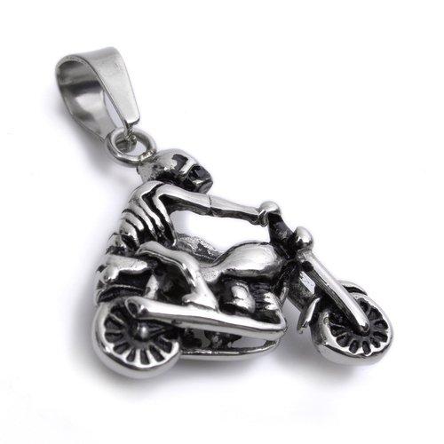 Acero inoxidable cráneo bicicleta Motor colgante para hombre collar P988