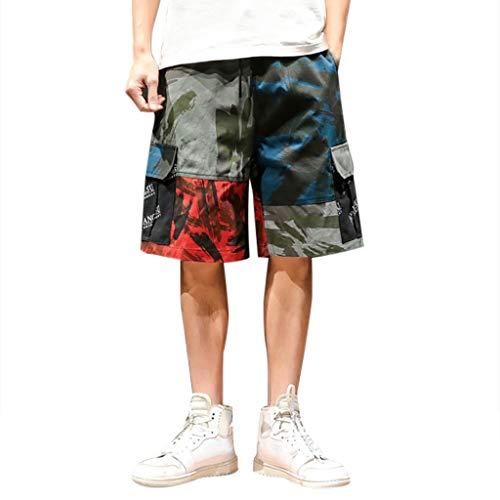 Jogginghose Bermuda Shorts Badehose,SUNFANY Herren Sommer Freizeit Camouflage Overalls Fashion Multi-Pocket-HosenRegular Fit(Tarnen,XXXXXL) -