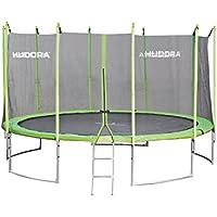 HUDORA Family Trampolin | Hochwertiges Garten-Trampolin mit Sicherheitsnetz, grün