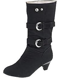 ShallGood Damen Elegant Stiefel Winterstiefel Mittlerer Absatz mit Schnalle Blockabsatz Schuhe Schenkelhoch Outdoor Stiefel