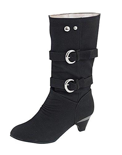 ShallGood Damen Elegant Stiefel Winterstiefel Mittlerer Absatz mit Schnalle Blockabsatz Schuhe Schenkelhoch Outdoor Stiefel Schwarz EU 36 (Spitze Schnalle Nubukleder)