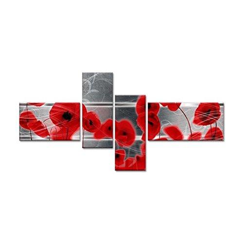 POPPY Tableau multi panneaux 130x65 cm rouge fleur