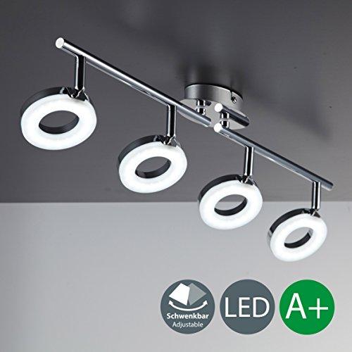 Plafonnier LED 4 spots moderne I anneaux lumineux et bras orientables I lampe de salon chambre bureau salle à manger I éclairage intérieur I blanc chaud I 230 V I IP20 I 4 x 4 W