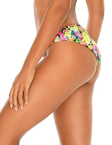 RELLECIGA Damen Bikinihose gerafft Low Waisted - Grün - Small