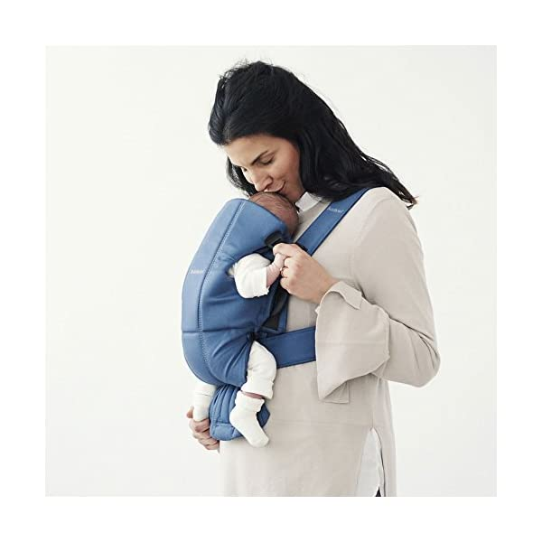 BABYBJÖRN Baby Carrier, Vintage Indigo Baby Bjorn Perfect first baby carrier for a newborn Small and easy to use BCI-certified cotton that is stretchy in the seat area and satin woven to make it super-soft and comfy 3