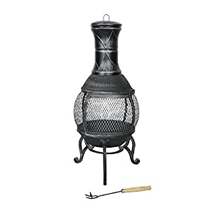 Azuma Ember Cast Iron Chiminea Fire Pit Black Patio Burner Garden Heater Charcoal Outdoor Steel Chimney