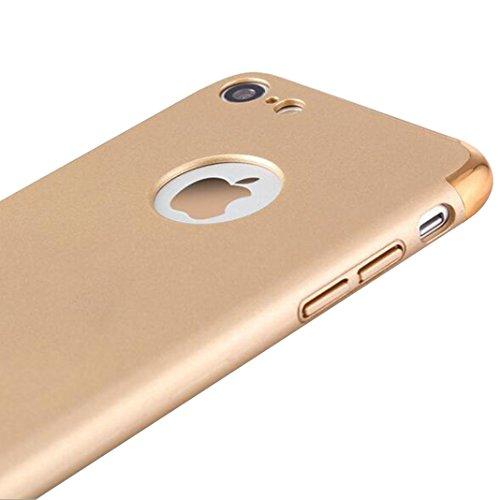 iPhone 7 Plus Schutzhülle,SUNAVY 3-in-1 Überzug+PC Anti-stoß Ultradünne harte Tasche Schale Zubehör Gehäuse Rahmen Etui Hülle Case für Apple 7Plus,5.5zoll,Schwarz Glod