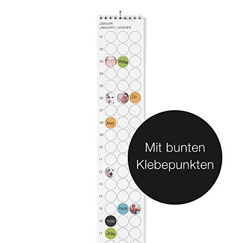 """dot on Geburtstagsplaner - 8,5 x 72 cm Bekannt Aus""""Die Höhle Der Löwen"""" Bunte Klebepunkte Beschriften Und Flexibel Wechseln DIY"""