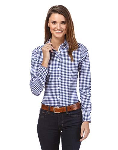 Vincenzo Boretti Damen Bluse kariert leicht tailliert 100% Baumwolle bügelleicht Langarm Hemdbluse elegant festlich Kent-Kragen auch für Business und unter Pullover blau/weiß 36 Blau Damen Pullover