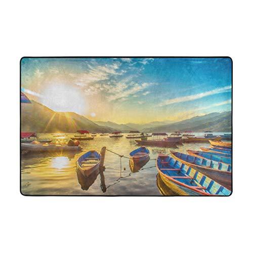 Bbelieve colorata immagine artistica della barca sul lago fewa in nepal durante la notte 1081621328 tappetino per moquette 72 x 48 pollici zerbino negozio interno coperto negozio per uso aziendale