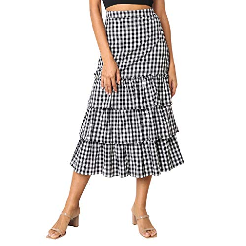Amphia - Damen Tüllrock,Frauen Plaid Printing Party Chiffion Hohe Taille Schnürung Hüfte Langer Rock Belted Satin-mantel