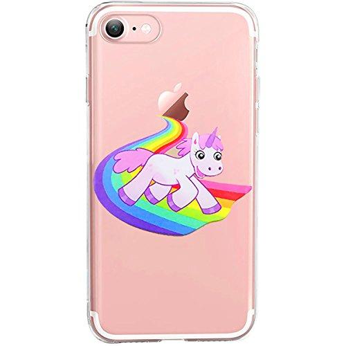 GIRLSCASES® | iPhone 8 / 7 Hülle | Mit coolen Spruch Aufdruck Motiv | Smile | Case transparente Schutzhülle | Farbe: weiß | Einhorn 8