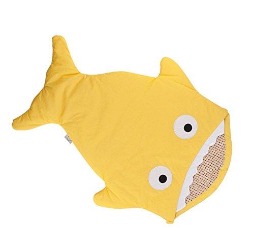 Sacchi nanna neonato bambini, Bambino sacco a pelo cotone a forma di squalo, morbido e comodo,sacco a pelo pesce per Passeggino (Giallo)
