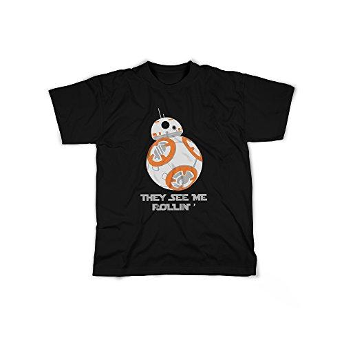 licaso Männer T-Shirt mit Aufdruck in Schwarz Gr. XXXL Droide Roboter Design Boy Top Jungen Shirt Herren Basic 100% Baumwolle Kurzarm