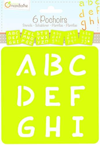 Avenue Mandarine 42450MD Set (mit 6 Schablonen, 15 x 15 cm, geeignet für Kinder ab 3 Jahre, für Filz- und Farbstifte, Farben oder Farbbomben, Alphabet) 6er Pack
