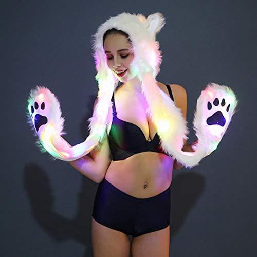 Hood Wolf Kostüm - SMWANG LED Kunstpelzmütze Light Up Hood Tiermütze Wolf Plüsch Warme Tiermütze mit Schal Handschuhe Cutehats Weihnachtskostüm für Damen,L