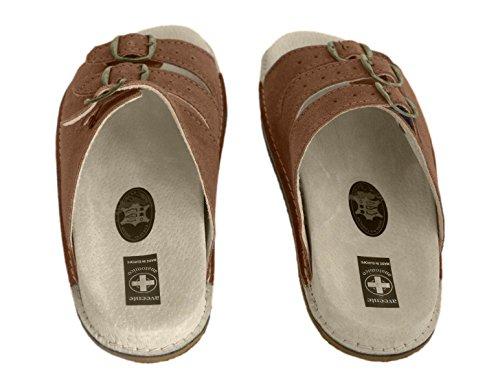 Original Men's Clogs Pantolette Hausschuhe Leder, mit Sohle für draußen, verschiedene Farben Brown (Open Toe)