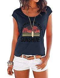 YOINS - Camiseta de manga larga para mujer, para verano, cuello redondo con estrellas